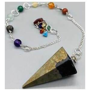 Pyrite 7 Chakra 6 sided pendulum