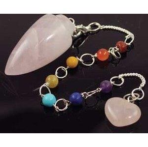 Rose Quartz 7 Chakra Pendulum