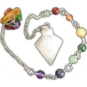 Selenite 7 Chakra Pendulum