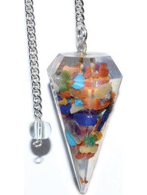 6-sided Seven Chakra Orgone pendulum