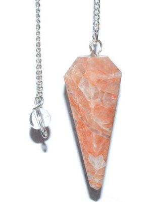 6-sided Peach Moonstone pendulum