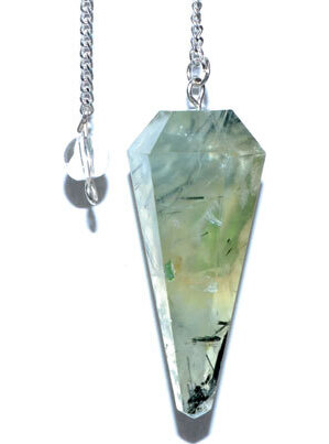 6-sided Prehnite pendulum