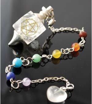 Clear Quartz Chakra Pentagram Pendulum