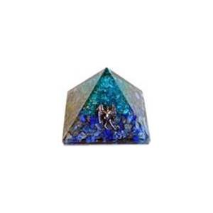 75mm Orgone Aquamarine & Lapis pyramid