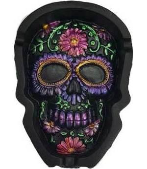 Purple Metallic Skull Ashtray