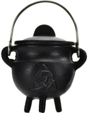 Triquetra Cast Iron Cauldron with Lid 2 3/4""