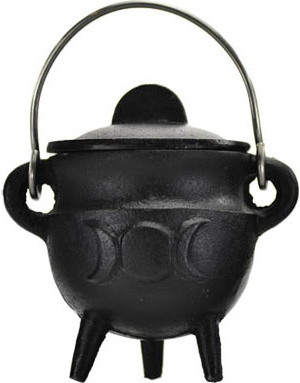 Triple Moon Cauldron with Lid 2 3/4""