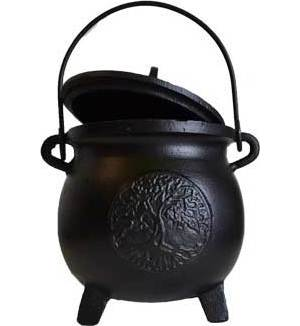 "8"" Tree of Life cast iron cauldron w/ lid"