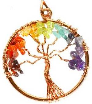 7 Chakra Tree of Life pendant copper