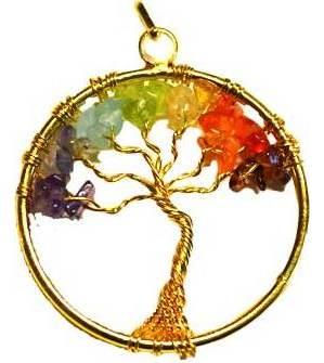 7 Chakra Tree of Life pendant gold