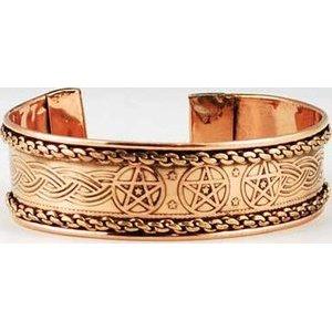 Pentagram Engraved Copper Bracelet
