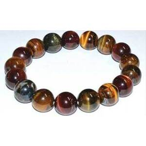 12mm Tiger Eye, Tricolor bracelet