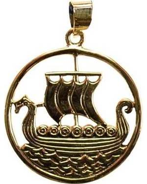 Viking Ship Bronze Pendant