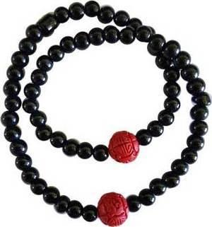 Cinnabar Rose & Onyx Bracelet
