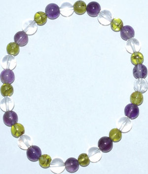 6mm Amethyst, Peridot, Quartz