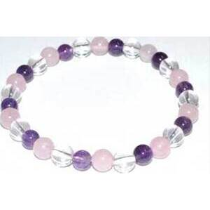 6mm Amethyst, Rose Quartz & Quartz bracelet