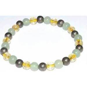6mm Aventurine, Green, Citrine & Pyrite bracelet