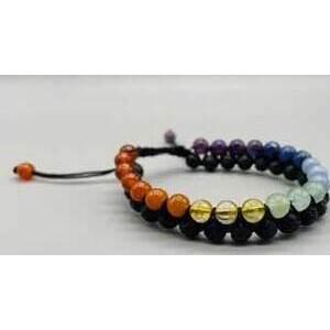 6mm 7 Chakra & Lave double weave bracelet