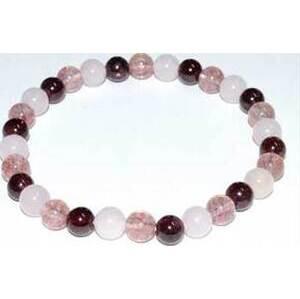 6mm Rose Qtz, Strawberry Qtz & Garnet bracelet