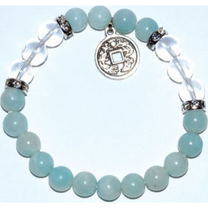 8mm Amazonite/ Quartz with Chinese Coin