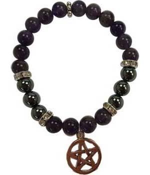 8mm Amethyst/ Hematite Pentagram Bracelet