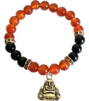 8mm Carnelian/ Black Onyx with Buddha