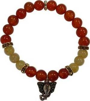 8mm Carnelian/ Rutilated Ganesha Bracelet
