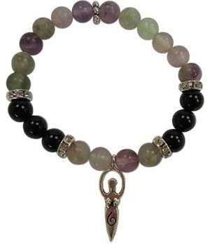 8mm Flourite/ Black Stone Goddess Bracelet