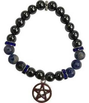 8mm Hematite/ Sodalite Pentagram Bracelet