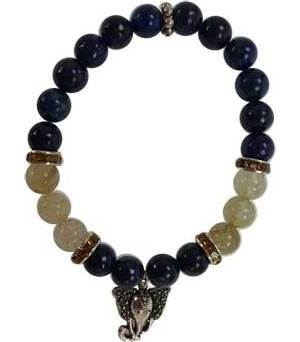 8mm Lapis/ Rutilated Ganesha Bracelet