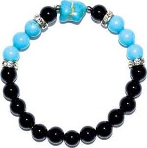 8mm Onyx, Black/ Turquoise