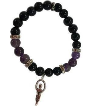 8mm Purple Goldstone/ Amethyst Goddess Bracelet