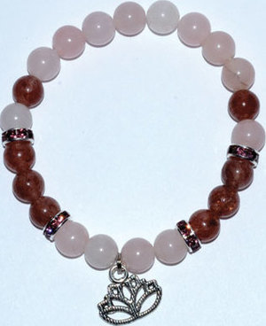 8mm Rose Quartz/ Strawberry Quartz with Lotus