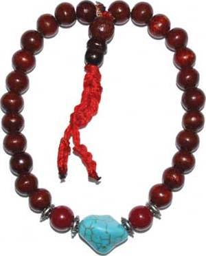 8mm Rose Wood/ Turquoise