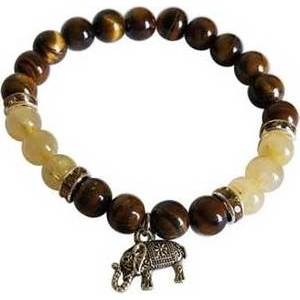 8mm Tiger Eye/ Rutilated Quartz with Elephant