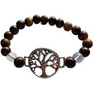 8mm Tiger Eye/ Quartz with Tree of Life