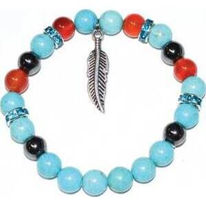 8mm Turquoise & Carnelian & Hematite/ Feather