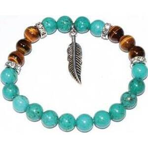 8mm Turquoise & Tiger Eye/ Feather