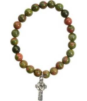Unakite Cross Bracelet