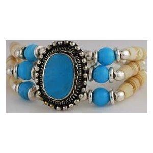 Turquoise And Bone Bracelet