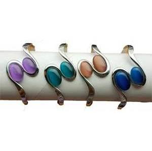 magnetic Cat's Eye Rhodiom 2 oval bracelet various stones