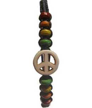 Peace Wax Cord Bracelet Mixed Colors