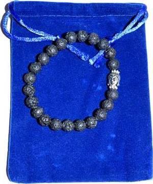 Lava & Buddha Bead in velvet bag bracelet