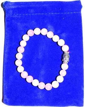 Rose Quartz & Buddha Bead in velvet bag bracelet