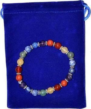 Chakra gem stone in velvet bag bracelet