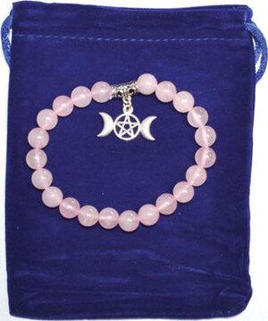 8mm Rose Quartz & Triple Moon bracelet