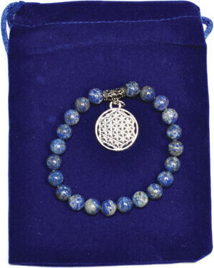 8mm Lapis & Flower of Life bracelet