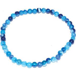 4mm Agate, Blue Lace stretch bracelet