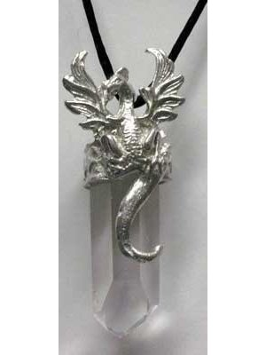 Dragon with Clear Quartz Crystal Necklace