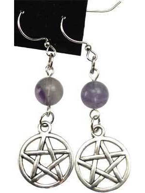 Fluorite Pentagram Earrings
